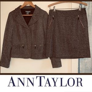 Ann Taylor Wool/Silk Blend Tweed Skirt Set